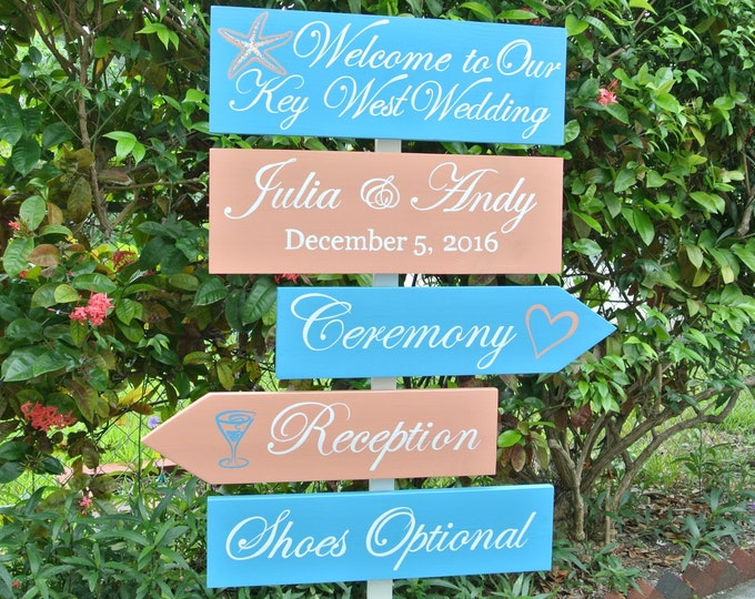 Welcome Wedding directional sign. Nautical beach wedding decor. Shoes Optional Key West sign. Destination Wedding Gift idea