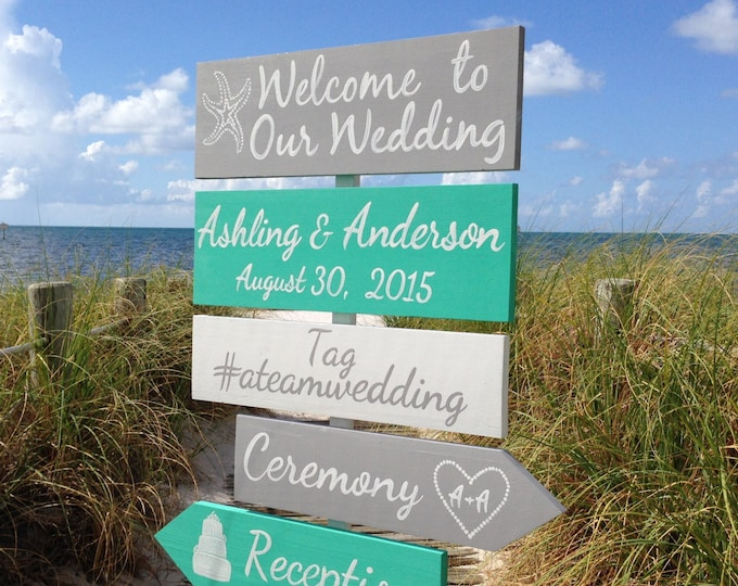 Mint Wedding Welcome Sign, Beach Wedding Decor, Shoes Optional Ceremony Signage, Wedding Gift for Couple, Wood yard decor