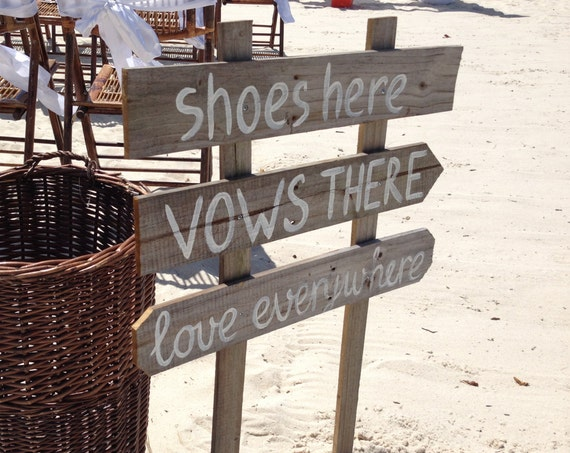 Newlywed Gift Shoes Here Vows There Love Everywhere Wood wedding sign rustic. Beach wedding decor gift