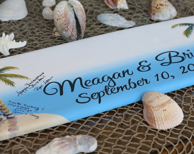 Surfboard Guest book Wood Wedding Sign, Beach Wedding Decor, Sign in Board