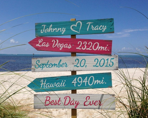 Turquoise Beach wedding decor. Ceremony sign. Personalized gift for couple. Best Day Ever wood sign
