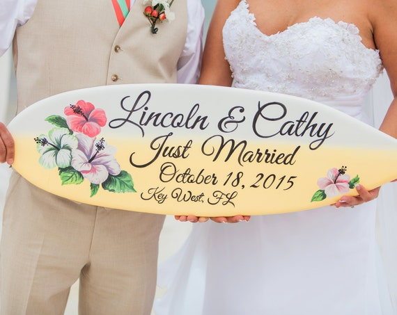 Wedding gift for Couple. Just Married Surfboard sign. Hibiscus Tropical decor.