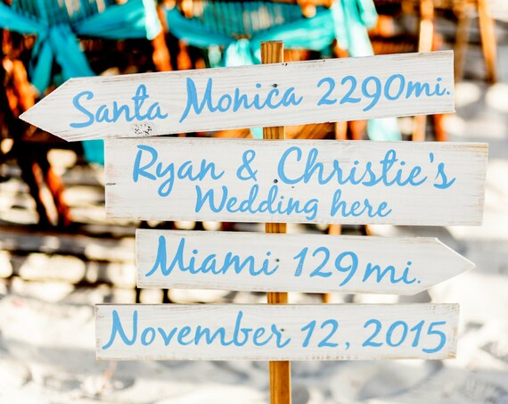 Gift for parents, Light Blue Directional Wedding Beach Sign, Nautical Arrow Wedding Decor, Shoes Optional Arrow Wood Signage