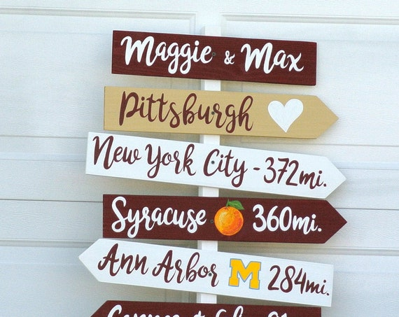 Rustic Wedding decor. Personalized Gift for couples, Directional Sign. Beach Tropical decor