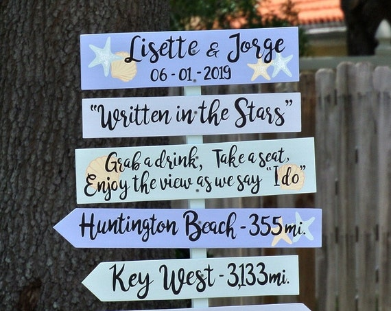 Tropical Beach wedding decor Personalized Directional sign. Gift for couple. Best Day Ever Wooden Signage