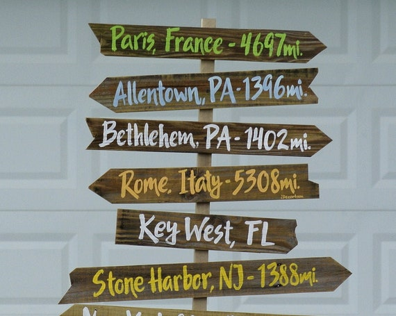 Directional Sign wood rustic. Destination wooden sign post. Family Gift for Home