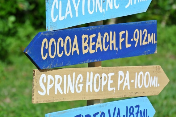 Family Directional Sign. Beach House Decor. Gift for Dad Birthday.