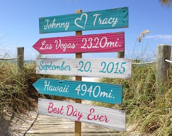 Turquoise Tropical Beach wedding decor. Beach wedding ceremony sign. Personalized gift for couple. Best Day Ever