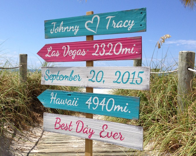 Gift for couples, Beach Wedding Decor, Rustic Wood Directional Signage, Best Day Ever, Shoes Optional Ceremony Beach Sign, Yard decoration