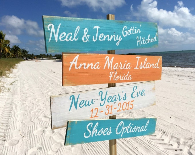 Shoes Optional Beach Wedding Sign, Tropical Wedding Decor, Directional signage gift for couple