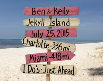 Pink and White Beach Wedding Decor, Directional Beach Sign, I Do's Ceremony Destination Family Name Signage, Wedding gift idea.