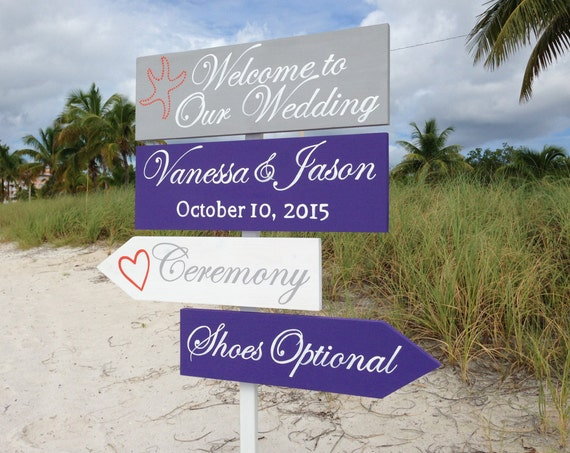 Tropical Welcome Wedding Directional Sign, Beach Ceremony Decor, Shoes Optional, Gift Idea for couple