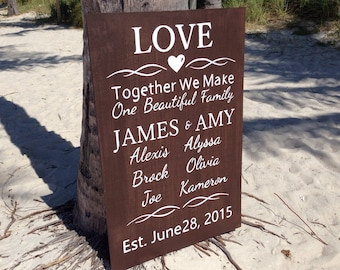 Love wedding family sign board. Gift for couple.