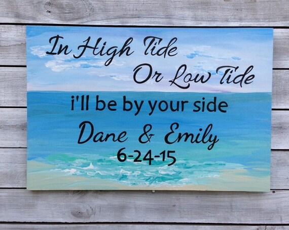 High Tide Low Tide Anchor Sign Wedding Nautical Decor, Beach Wedding Decor, Guest Book Alternative Wood