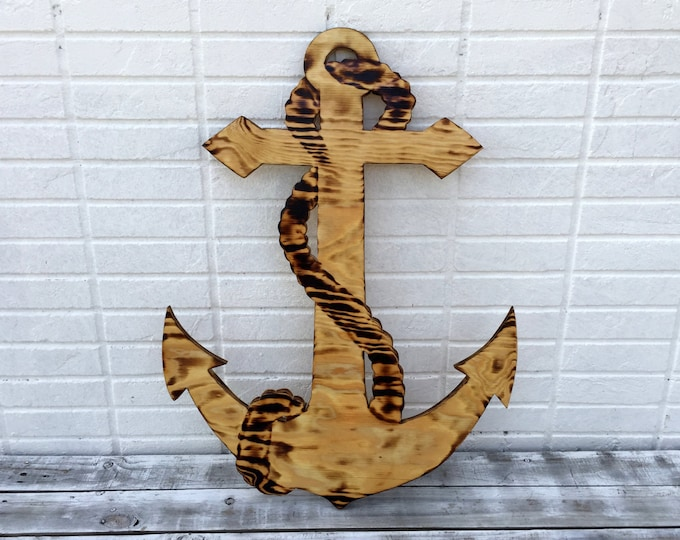 Newlywed  Gift Anchor Wood Guestbook Alternative, Wedding Guest Book Anchor Wood Sign, Anchor Wall Art, Rustic Wedding Decor