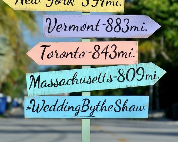Wedding direction sign. Hashtag for wedding. Tropical decor