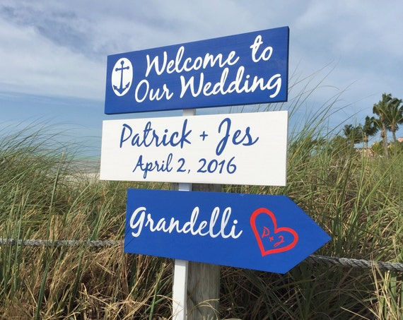 Navy wedding sign. Wood destination wedding gift for couple. Beach wedding decor