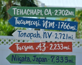 Personalized Directional Wood Sign, Family Yard Decor. Destination wooden sign post. Housewarming gift.