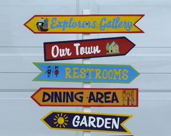 Children's Museum Directional sign. Party direction sign post.