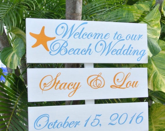 Destination Wedding Gift Sign for couple, Welcome To Our Wedding wood sign. Tropical decor