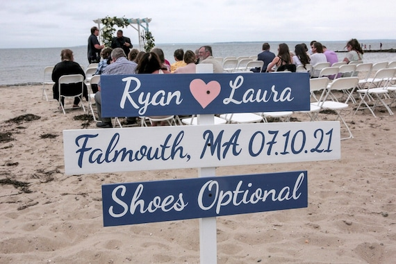 Wedding Decor Beach Sign, Wood Nautical Directional Signs, Shoes Optional, Personalized Signage for wedding gift