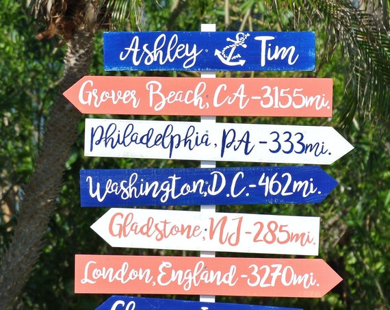 Newlywed Gift Gift for couples, Welcome Wedding Beach Directional Sign Wood, Rustic Decor. Family destination mileage sign. Wood yard decor