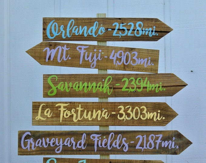 Directional sign Wood Family gift,Destination Mileage Signpost, Arrow yard sign, Yard decoration sign