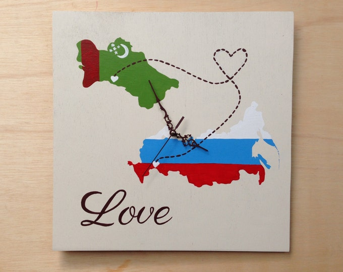 Love Map Wooden Wall Clock, State Wood wedding gift, Destination wedding sign, Distance love gift