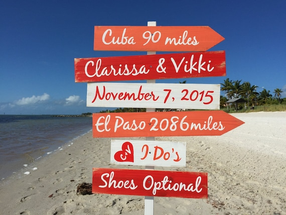 Coastal Wedding Decor, Coral Directional Sign. Shoes optional.