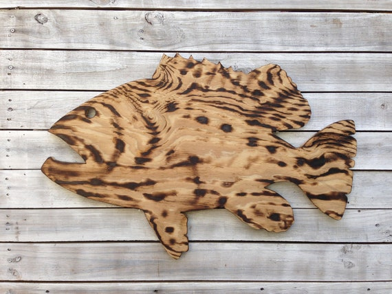 Grouper Fish outdoor wall decor. Gift for him. Wood burning sign.