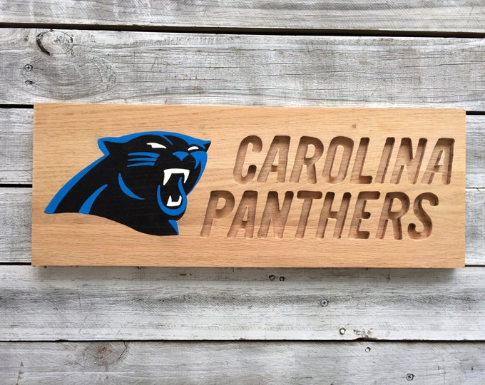 Wood Business Sign, Carolina Panthers Decor Gift, Outdoor Business Sign, Carved Name Sign