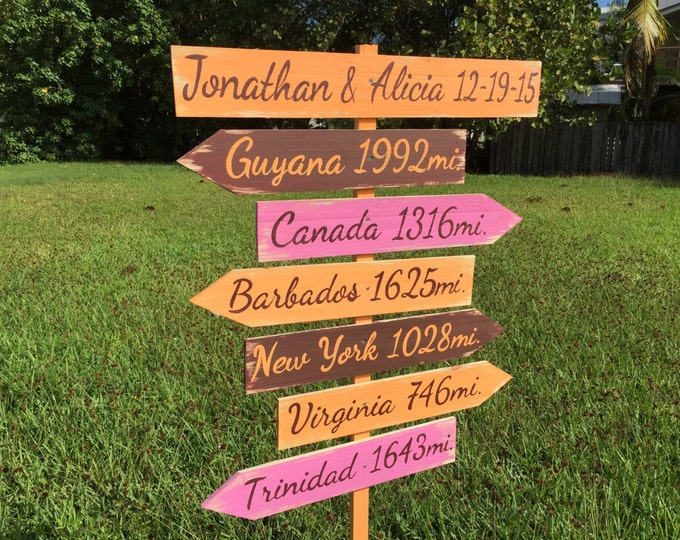 Rustic Directional Sign, Destination Signage for Wedding, Housewarming Gift Idea, Yard Wood Garden Sign