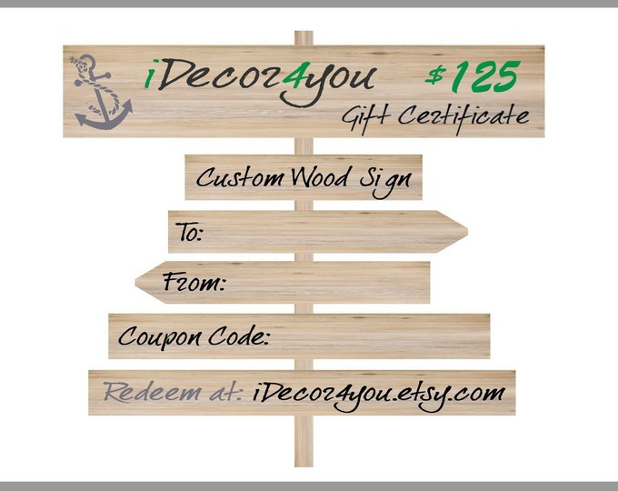 iDecor4you Christmas Gift Certificate for Custom Wood Sign, Gift Card Printable for Wedding, Birthday, Christmas