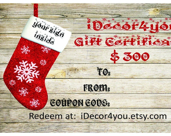 Gift card for iDecor4you shop  Christmas Gift Certificate for Custom Wood Sign. Holiday Gifts Card Printable. Friends gift idea.