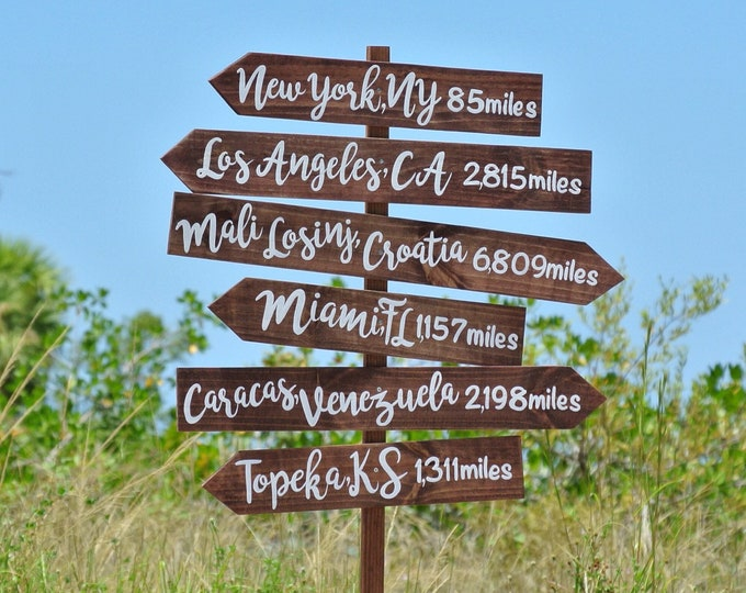 Rustic Wood Directional Sign, Mileage Destination Wooden Sign. Garden Decor, Family Gift Idea, Couples gift.