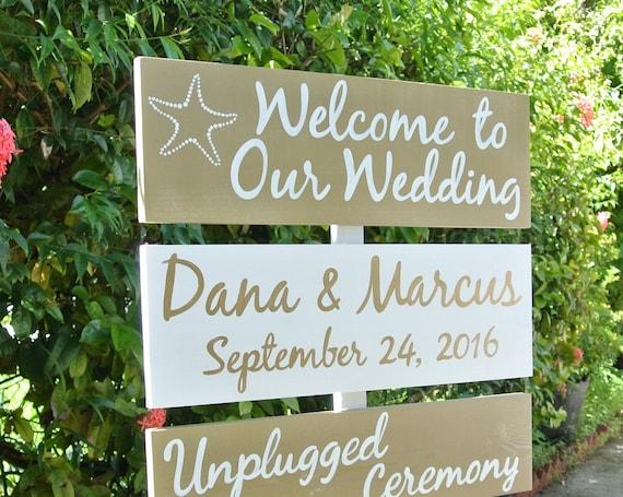 Gold wedding decor. Destination wedding sign. Unplugged wedding gift for couple.