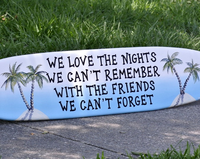 Surfboard Tiki Bar decor. Best friends gift. Tropical Bar Wall art.
