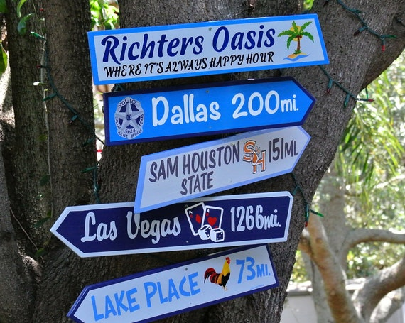 "Funny wood sign for home. Pool deck decor. Destination signs large 5.5"" tall with favorite places."