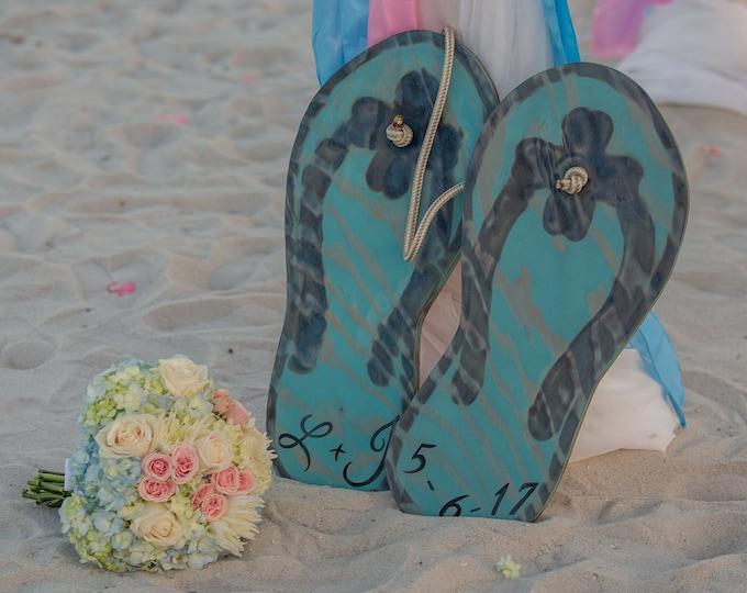 Large Wedding Guest book alternative Flip flop wood sign. Wedding gift for couple. Beach wedding decor.