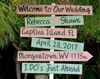 Welcome wedding sign wood. Beach Wedding Decor.  gift for couple. Rustic Directional sign.
