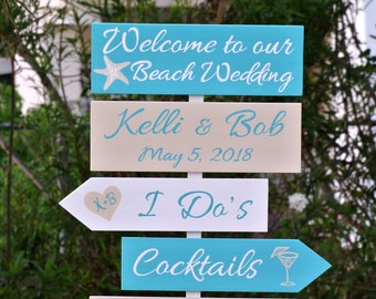 Welcome wedding sign wood beach decor, I Do's Cocktails Shoes Optional wooden signage, Turquoise tropical destination wedding