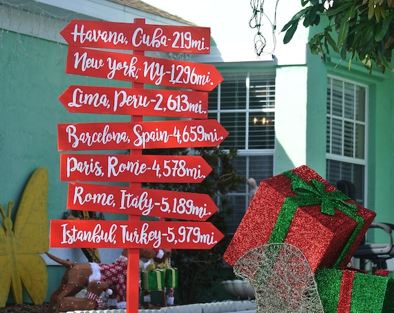 Christmas gift Garden decor. Directional sign Family mileage sign Personalized