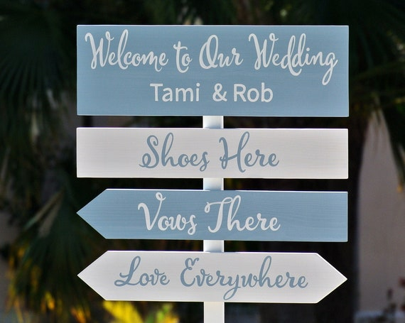 Dusty Blue Wedding Direction sign. shoes here, vows there, love everywhere. Newlywed gift for couple.