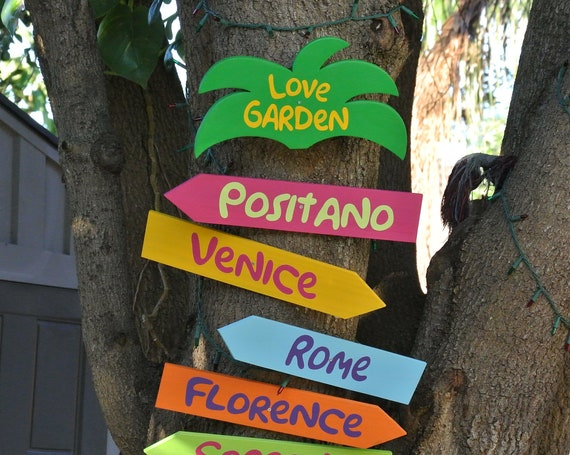 Love Garden directional signs wood. Back yard decor. Gift for parents