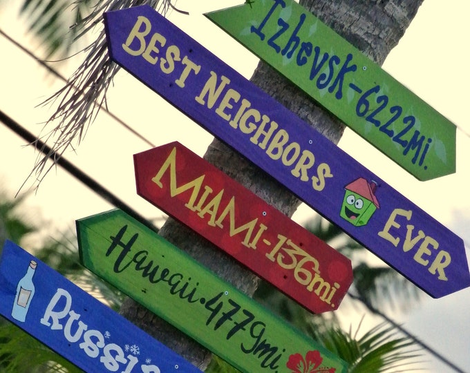 Directional sign wood. Yard Garden decor rustic. Destionation sign post. Outdoor Gift for Family. Location signs for home.