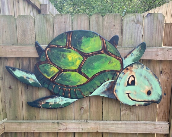 Large Wooden Turtle, Beach House Decor, Turtle Wall Art. Gift for Mom