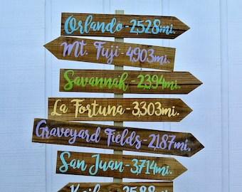 Directional sign Wood Family gift, Destination Mileage Signpost, Arrow yard sign