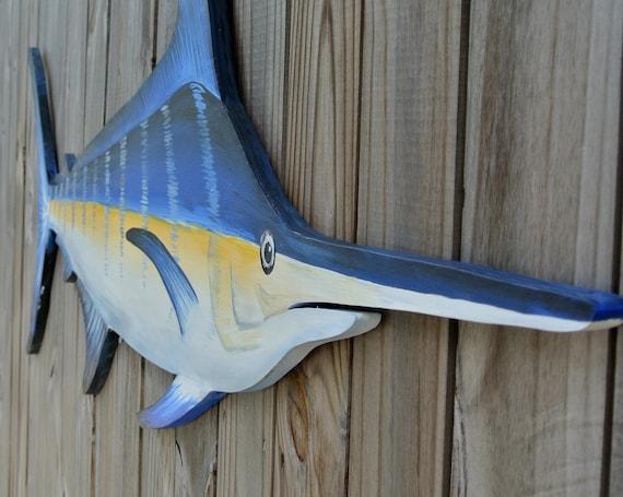 Large Blue Marlin Wood. Pool Deck decor. Fisherman gift for man.