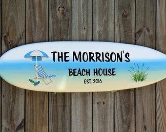 Personalized Beach House Decor. New home housewarming gift. Surfboard wall art