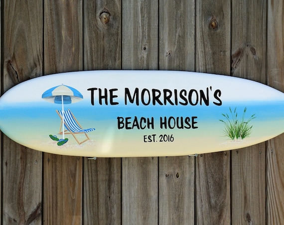 Personalized Beach House Decor. New home housewarming gift. Surfboard wall art